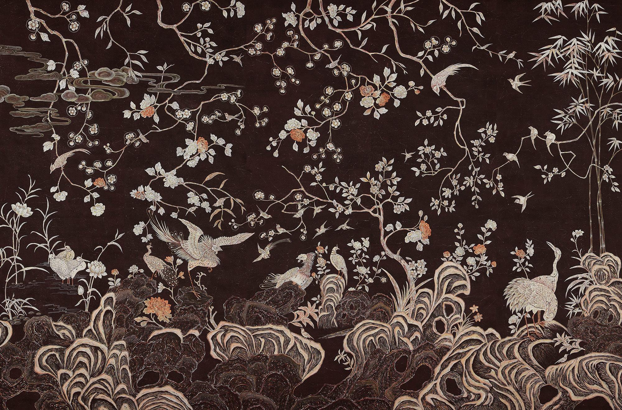 Standard on Edo Burnt Umber painted Xuan paper