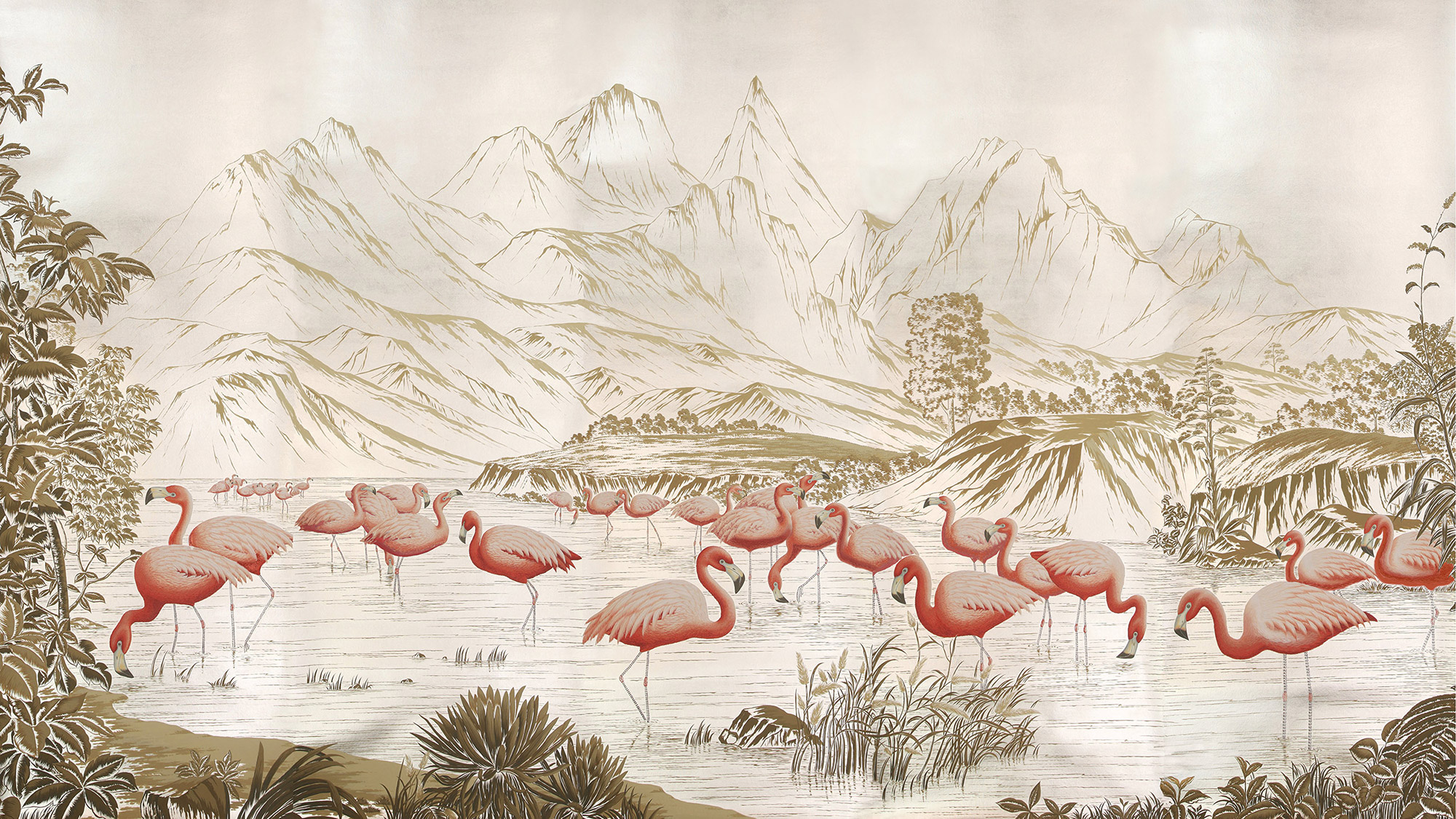 Flamingo on Tarnished Silver gilded Xuan paper