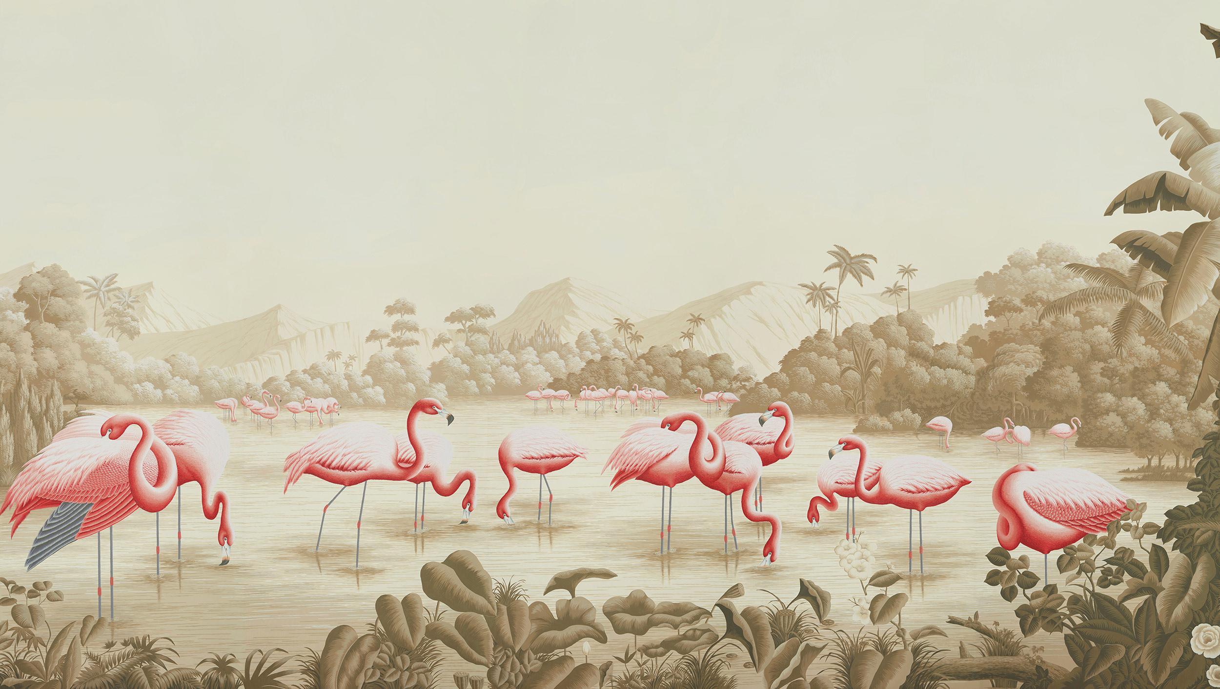 Flamingo on Sepia scenic paper