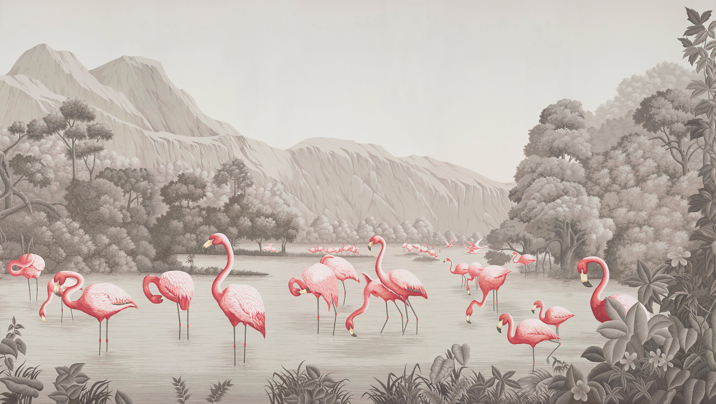 Flamingo on Eau Forte scenic paper