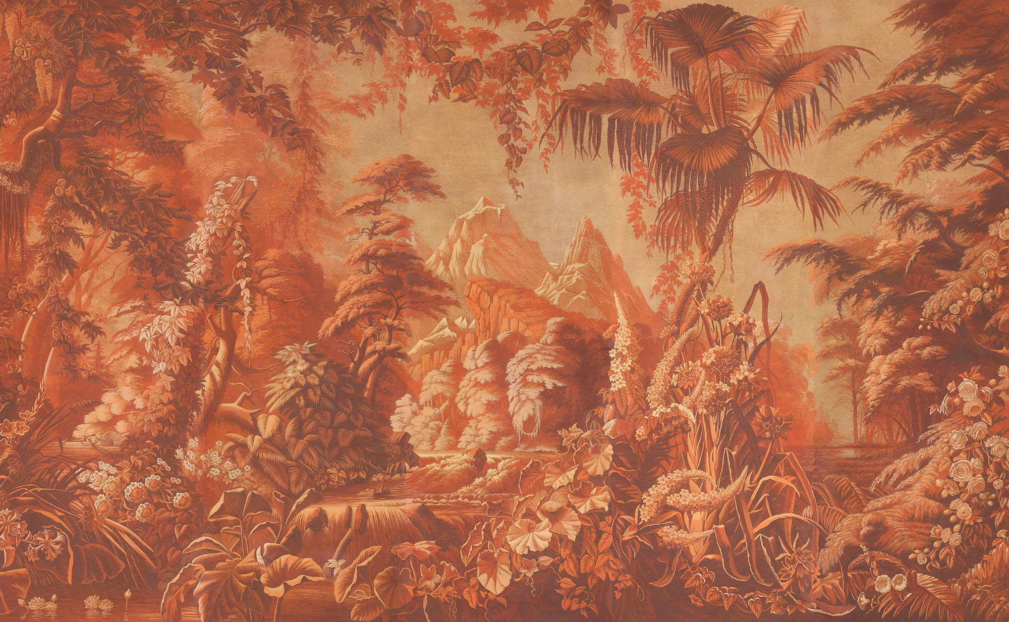 Coral Monochromatic on antique scenic Xuan paper
