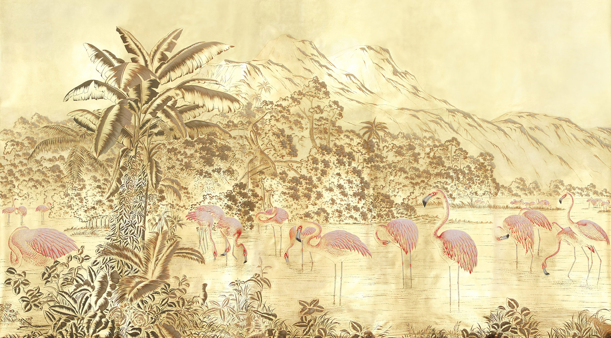 Flamingo on Deep Rich Gold gilded paper