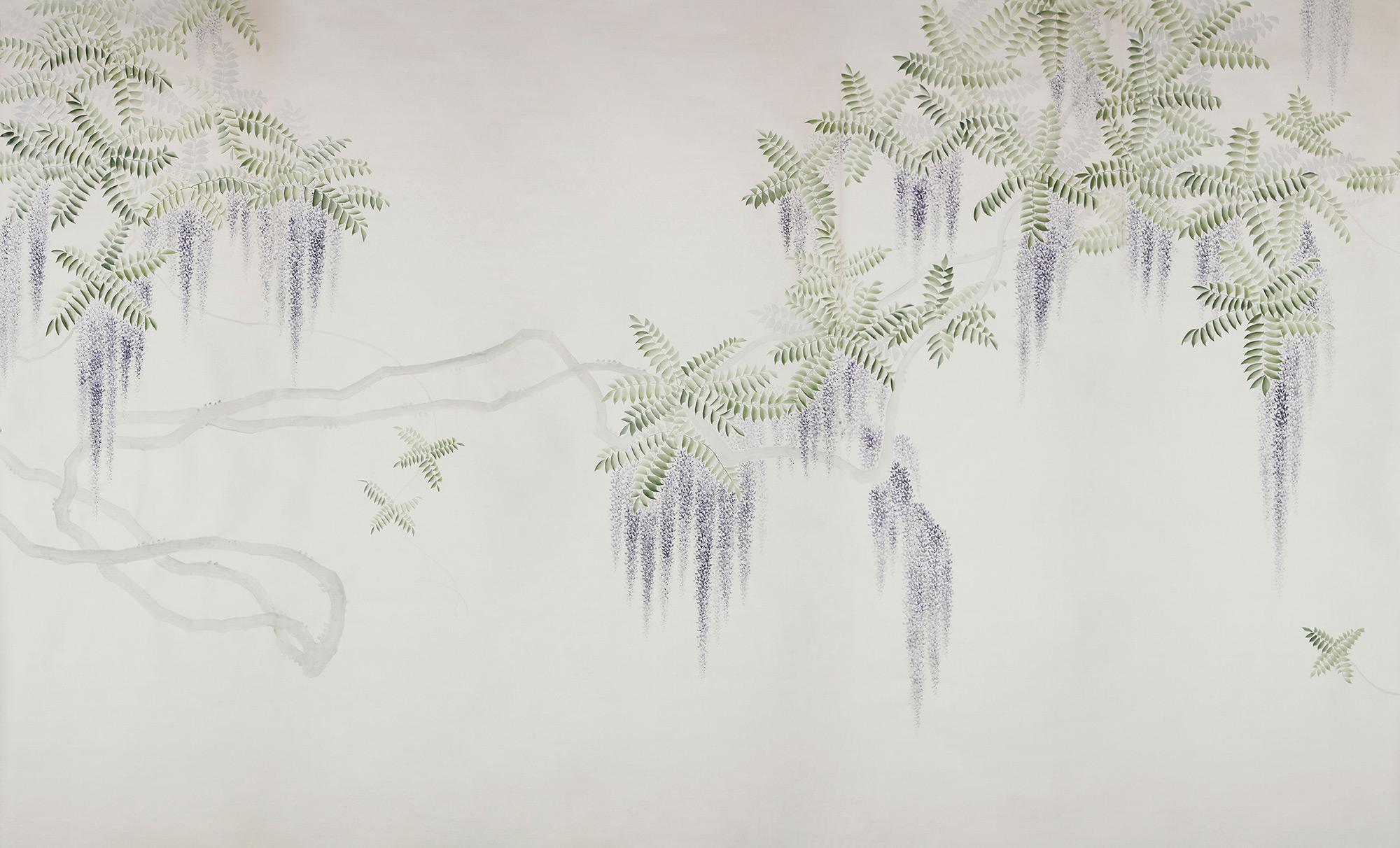 Lavender on Natural Mica metallic silk