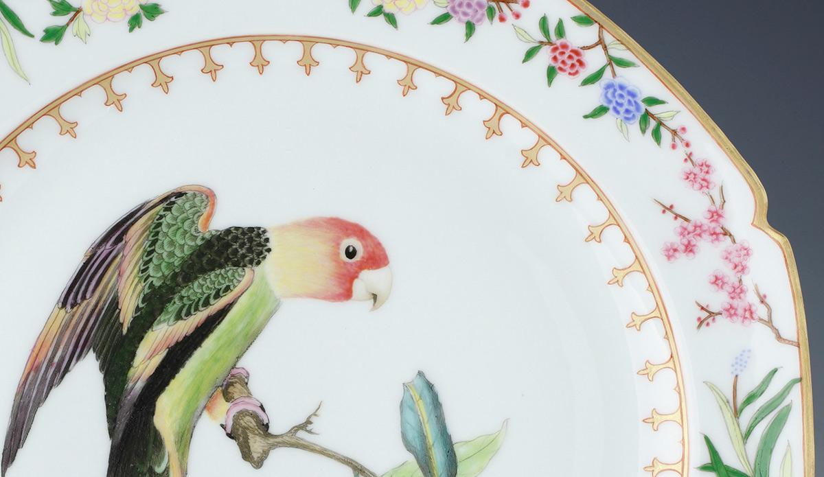 A detail of a 'Flora Britannica dinner plate