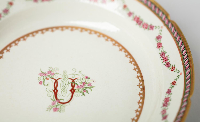 A detail of a 'Buckingham' dinner plate