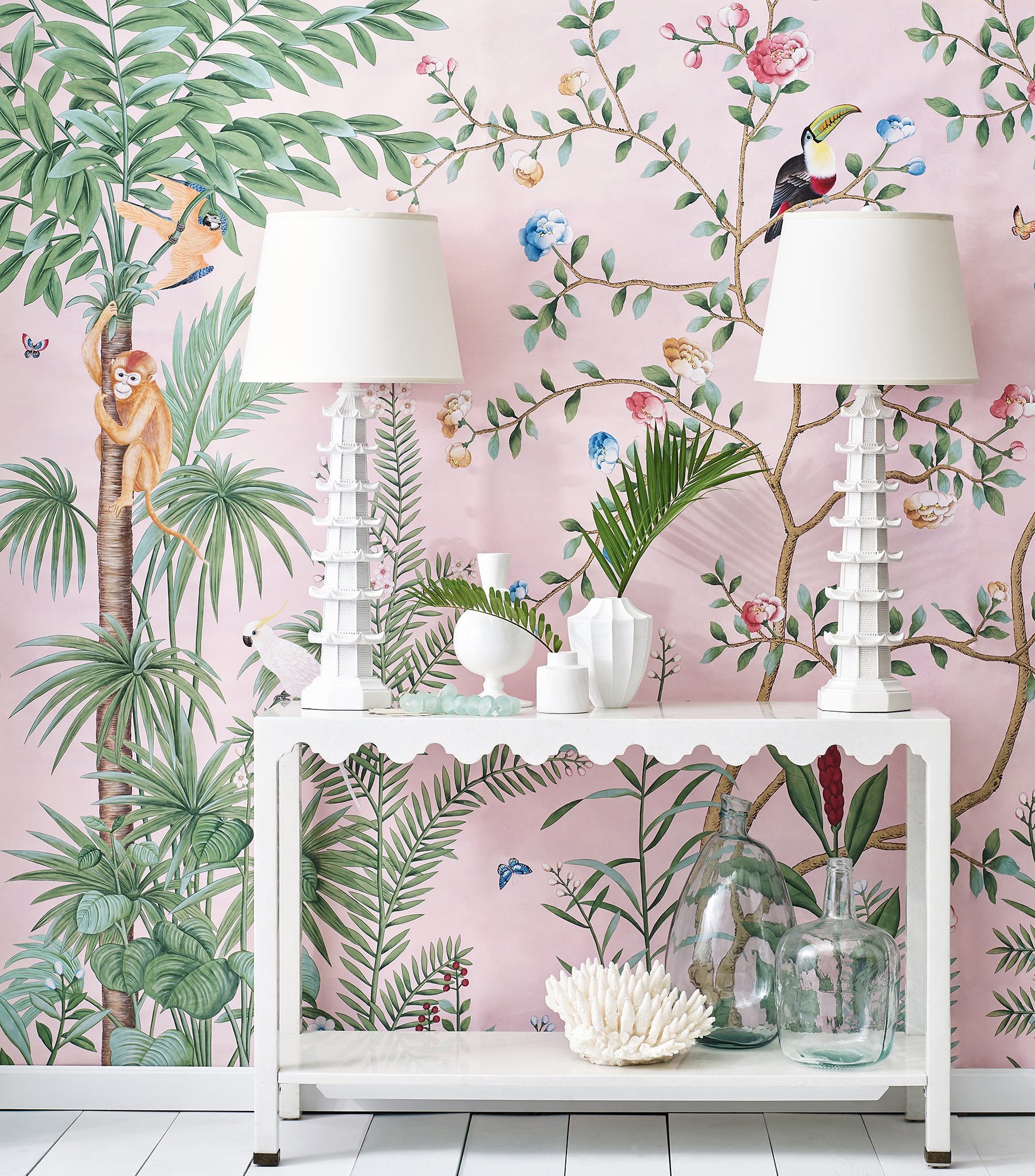 'Amazonia' in standard design colours on Edo Chalk Pink painted Xuan paper