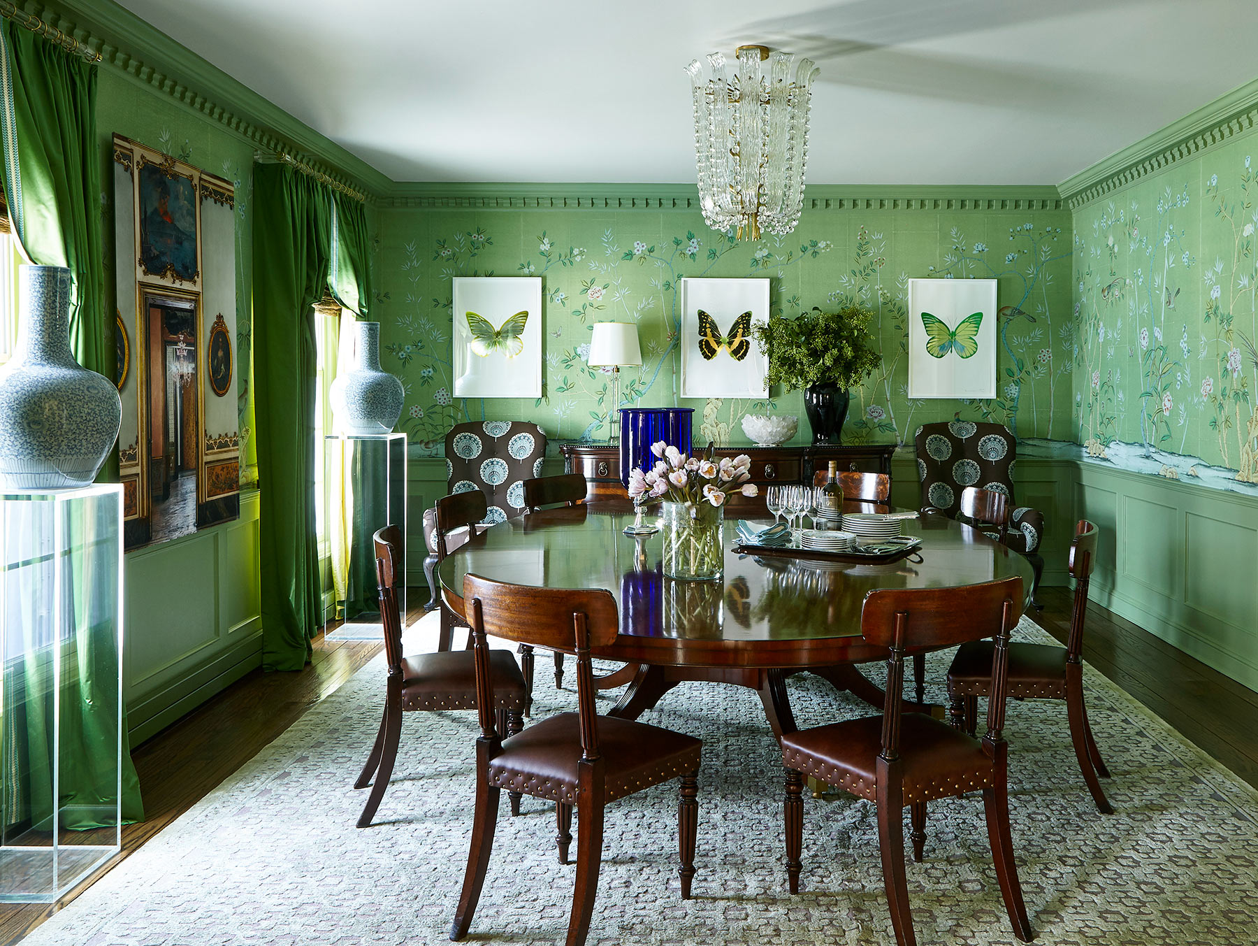'Portobello' in part custom design colours on Emerald Green India tea paper