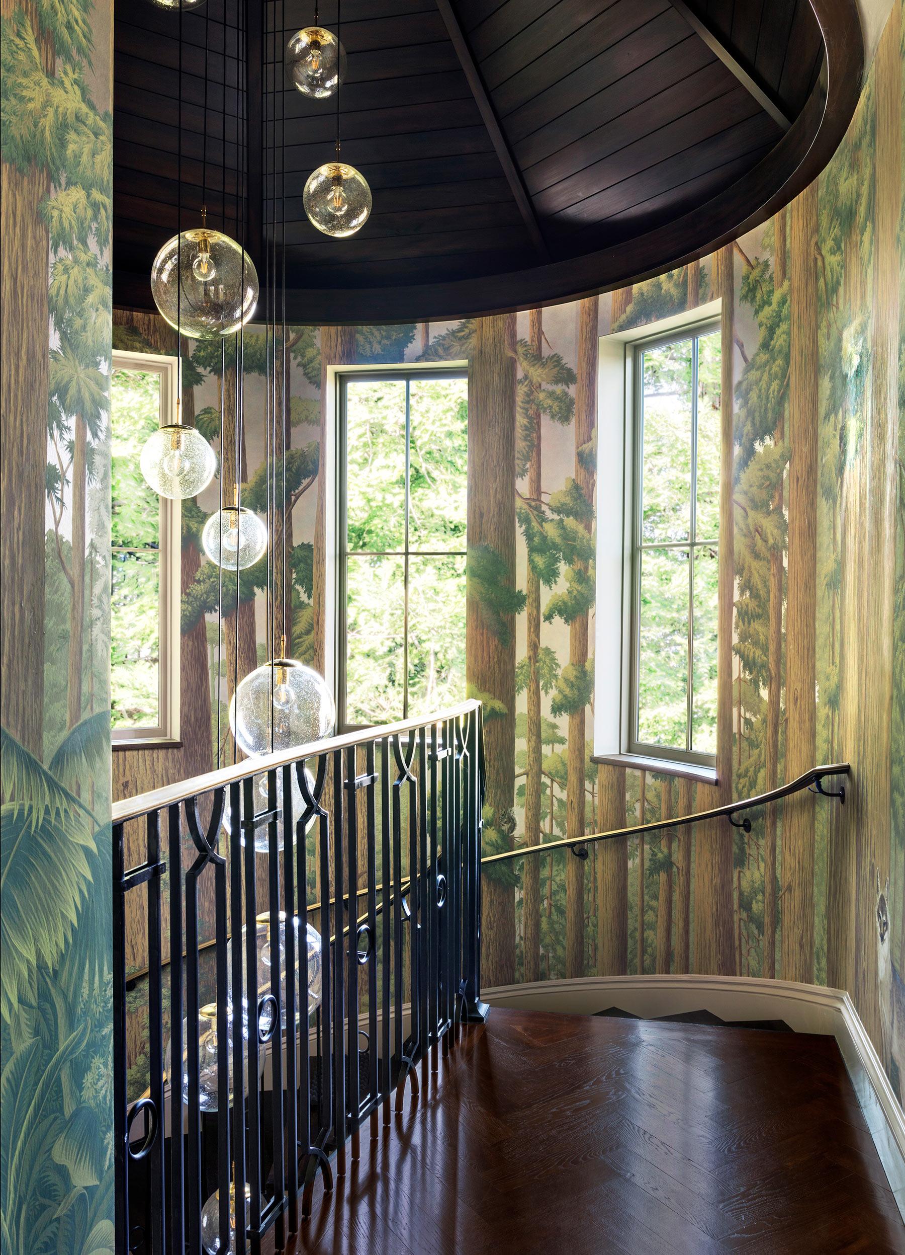 'Redwoods' in Original design colours on Brushed Gold gilded paper